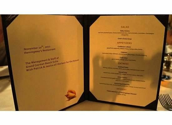 Hemingway's: Our Wedding Menu