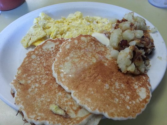 The Why Coffee Shop: pancakes, scrambled eggs and home fries