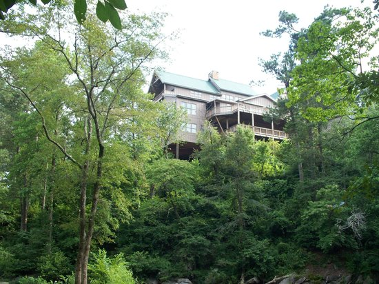 Historic Banning Mills: View of main lodge from river trail