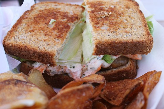 Schutty's Seafood: Grilled salmon BLT with lobster chive mayo on grilled wheat berry bread