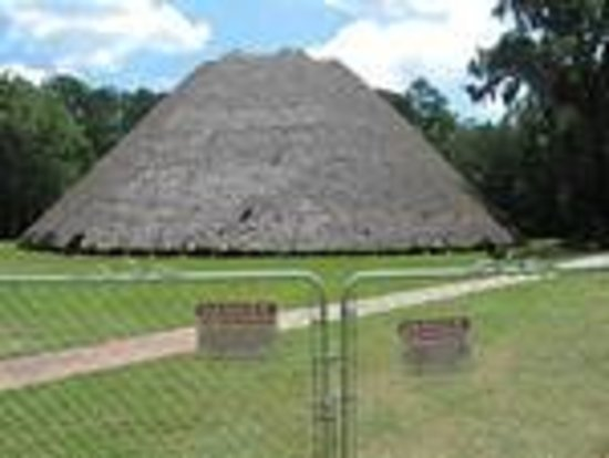 Mission San Luis de Apalachee: Thatch-roofed Apalachee Indian council house at Mission San Luis (being reroofed in summer 2013)