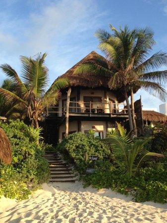 Encantada Tulum: View of beachfront cabana from the beach