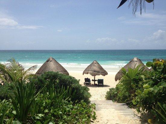 Encantada Tulum: View of the ocean from beachfront cabana