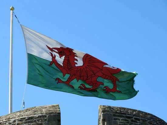 Wales Flag On Top Of Caerphilly Castle Picture Of Where