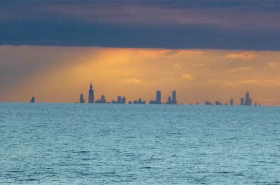 Indiana Dunes State Park: Chicago Skyline sunset with heavy clouds