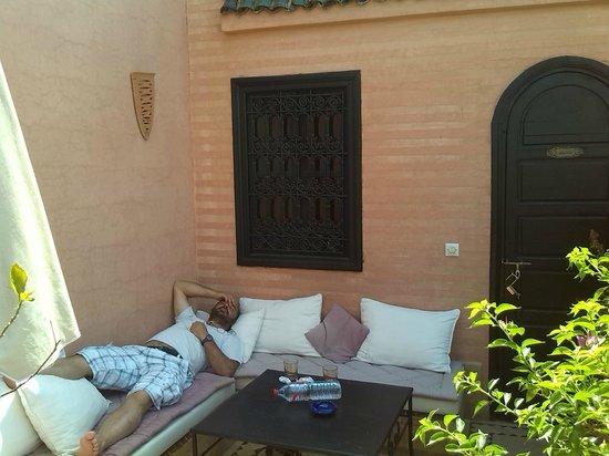 Riad Les Trois Palmiers El Bacha: terrasse privée