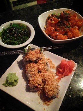 Yo Sake Downtown Sushi Lounge: Crunchy Tuna Roll, Firecracker Shrimp, Seaweed Salad