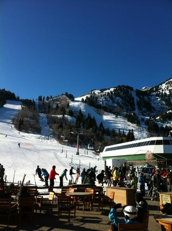 Snowbasin Resort: Bottom half of mountain looking up from main lodge patio.