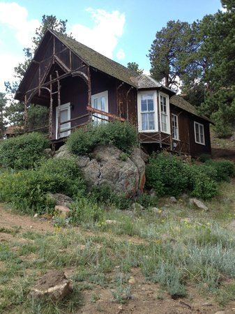 Elkhorn Lodge and Guest Ranch: First Church in Estes Park in early 1800's, now a cabin at Elkhorn Lodge and Ranch
