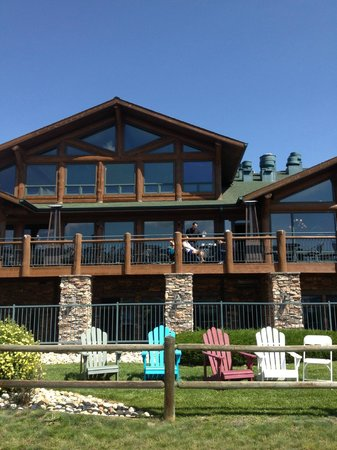 The Estes Park Resort: View from the grounds up to the Waterfront Grille deck