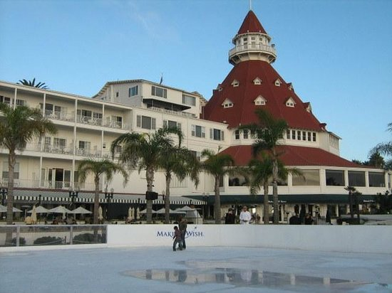 Coronado Island Hotel Del In Winter With Ice Skating Rink Alongside The