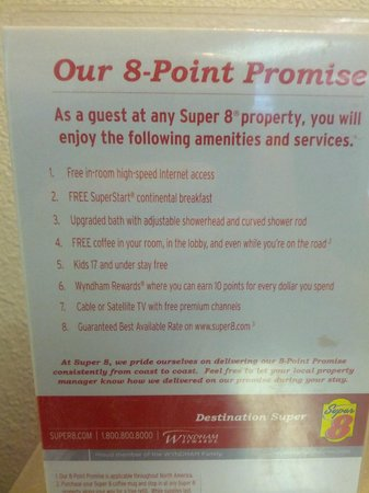 Super 8 Colorado Springs Airport: Super 8 point promise, which was not met