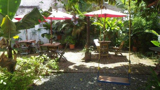 Iguana Hostel: Jardin avec balançoire
