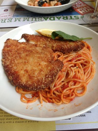 Strada - Milton Keynes: Pollo Milanese, breaded chicken breast on spaghetti