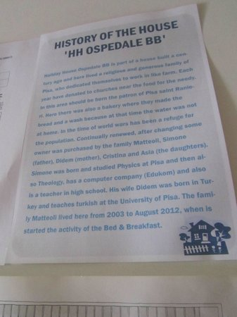 Holiday House Ospedale Bed and Breakfast: The story of the house