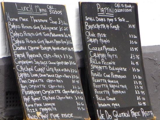 Franco's: Varied menu and costings...