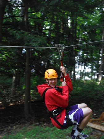Soaring Cliffs Zip Line Course: Leaving on line 3, our favorite!