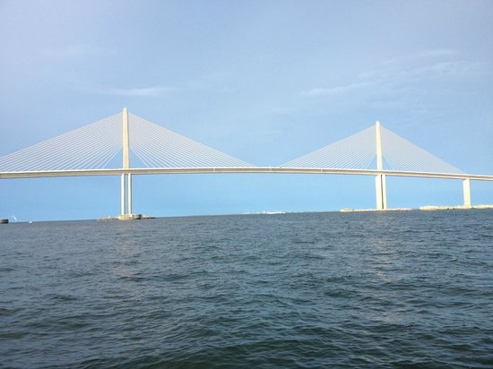 Top down view of sunshine skyway bridge picture of for Skyway bridge fishing