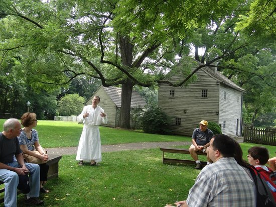 Ephrata Cloister: Our tour guide dressed in the 18th-c. community's chosen garb / habit