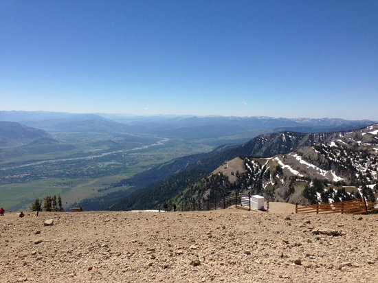 Jackson Hole Aerial Tram: view of Jackson in the distance