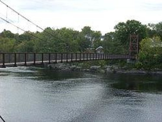 Androscoggin Swinging Bridge: Roebling ropes suspend this picturesque Swinging Bridge