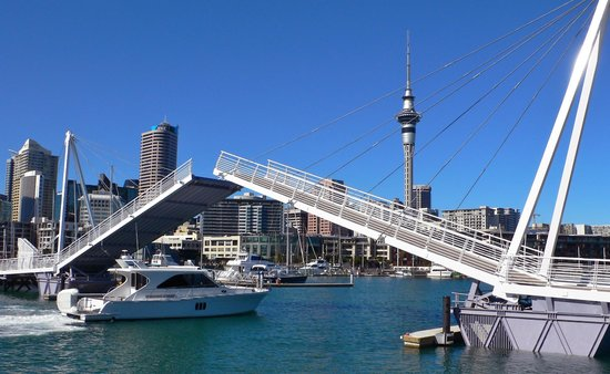 Viaduct Harbour: Bridge to Lighter Basin- with Sky Tower in baclground
