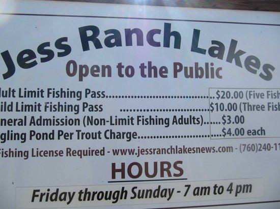 Jess Ranch Lakes: main sign