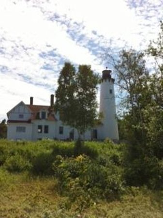 Point Iroquois Light Station: Lighthouse view from Boardwalk