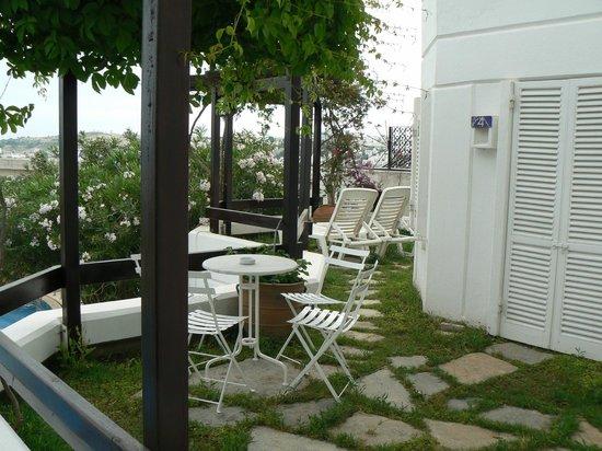 Antique Theatre Hotel: Notre terrasse avec vue sur le chateau