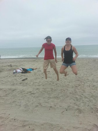 Doheny State Beach: Girls jumping for joy at the beach