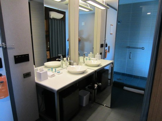 Aloft Chicago O'Hare: Open concept bathroom