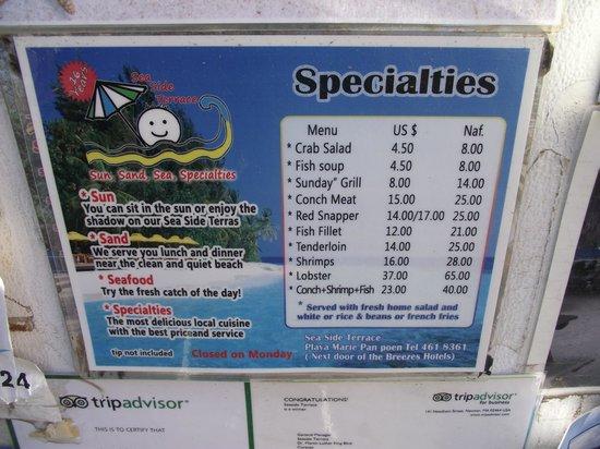 The menu picture of seaside terrace curacao tripadvisor for Terrace restaurant menu