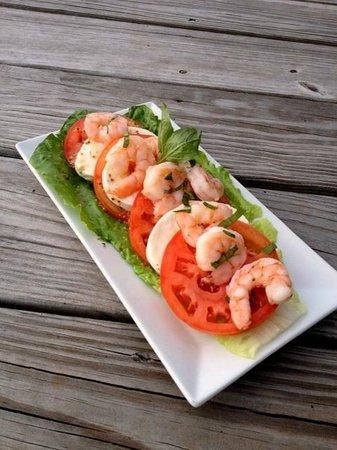 McCurdy's Restaurant & Deck on Moonlight Bay: Tomato, Basil, Shrimp & Mozzarella Salad