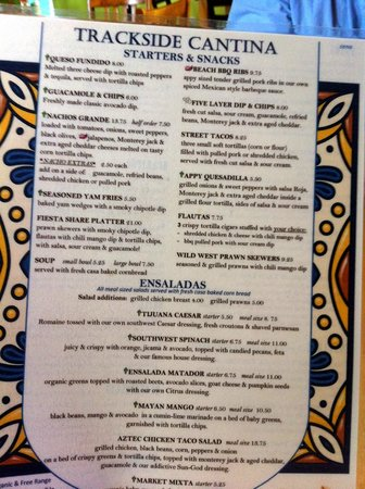 Trackside Cantina: the menu