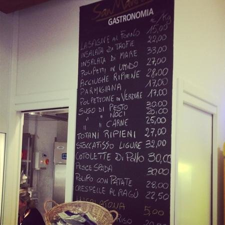 Gastronomia San Martino: the menu board
