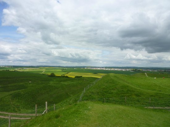 Maiden Castle: View to Dorchester