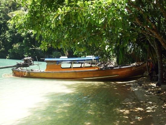 Koh Yao Noi Paradise sea kyak: Workers boat at big tree beach construction site.