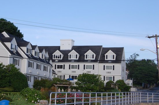The Inn at Scituate Harbor: View of the hotel from the pier across the street