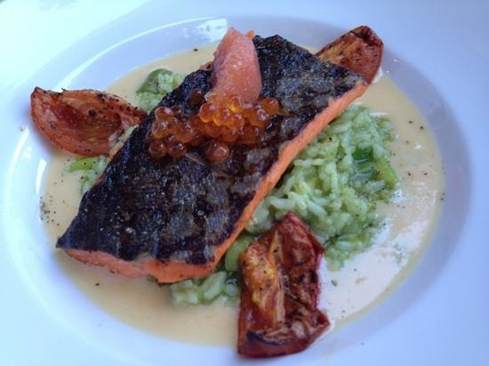 Provence Marinaside: salmon over asparagus risotto