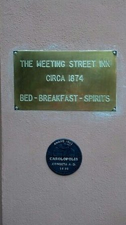 The Meeting Street Inn: Historic plaque