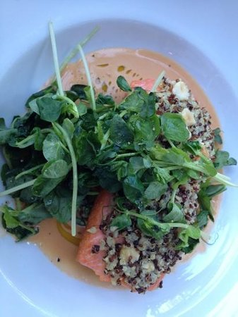 Provence Marinaside: salmon with quinoa crust and seafood reduction
