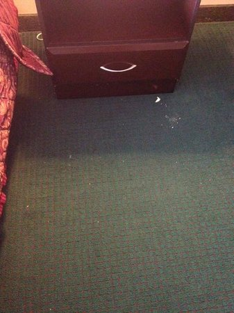 Ramada Limited Tell City: Crumbs on floor from day 1 that were never cleaned