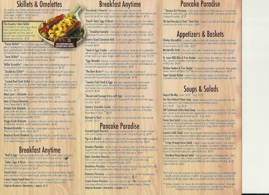 Country Kitchen Menu Front