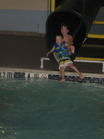 MainStay Suites: my boys loving the waterslide!!!