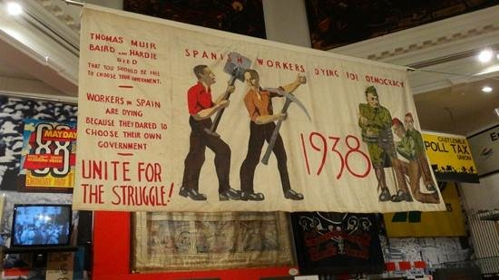People's Palace and Winter Gardens: Scottish Socialists banner from 1938 in support of Spanish Republicans