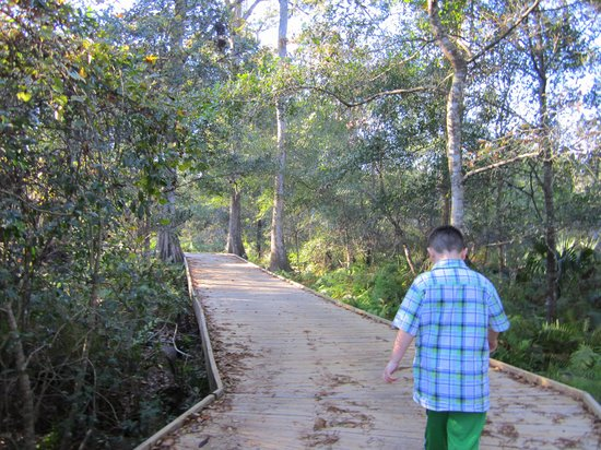 Lake Lotus Nature Park: Reese on the trails with me
