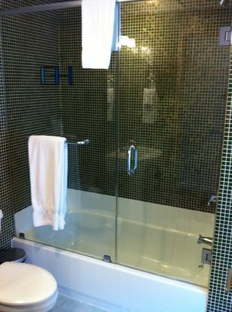 Hotel East Houston: shower in queen size room