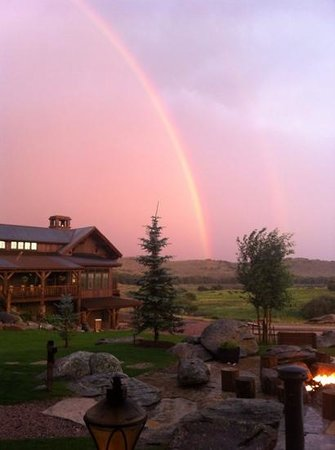 The Lodge and Spa at Brush Creek Ranch: Double rainbow one evening at dinner