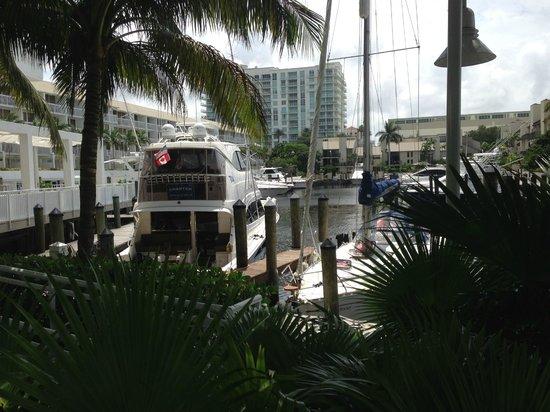 Hilton Fort Lauderdale Marina: boat slips outside pool area