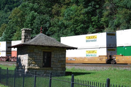 Horseshoe Curve National Historic Landmark : View of a freight train